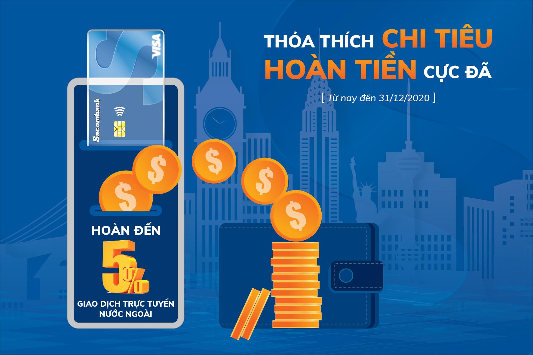 Hoàn tiền đến 3 triệu đồng khi giao dịch trực tuyến nước ngoài bằng thẻ Sacombank Visa