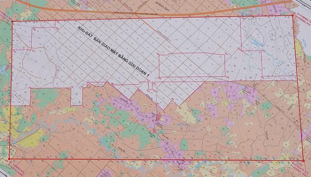 Bản đồ khu đất bàn giao giai đoạn một sân bay Long Thành. Ảnh: Phước Tuấn.