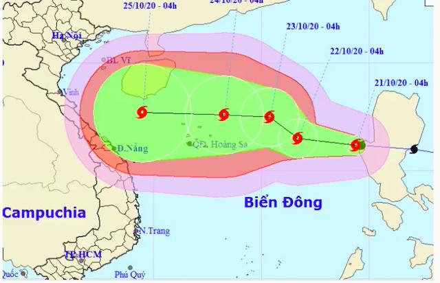 Dự báo hướng đi và vùng ảnh hưởng của bão Saudel. Ảnh: NCHMF.