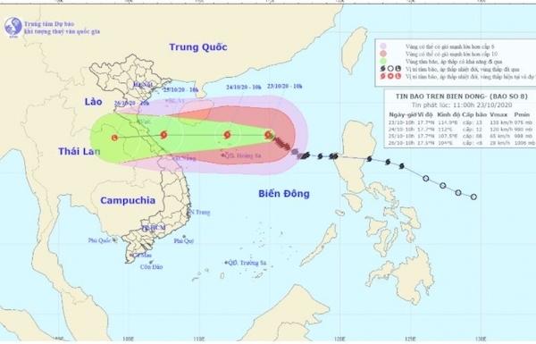 Bão số 8 hướng vào các tỉnh từ Hà Tĩnh đến Quảng Trị, giảm cấp khi tới gần bờ