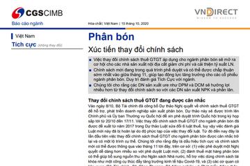 VNDirect: Báo cáo ngành phân bón - Xúc tiến thay đổi chính sách
