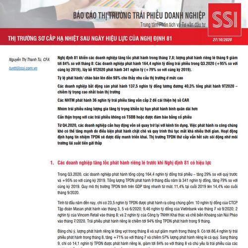 SSI Research: Báo cáo thị trường TPDN 9 tháng - Thị trường sơ cấp hạ nhiệt sau ngày hiệu lực của nghị định 81