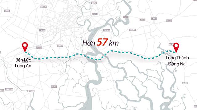 Toàn tuyến cao tốc Bến Lức - Long Thành. Đồ họa: Lê Huyền