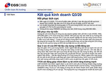 VNDirect: Báo cáo chiến lược thị trường - Kết quả kinh doanh quý III hồi phục tích cực