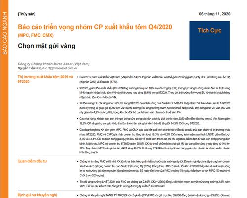 MASVN: Báo cáo triển vọng nhóm cổ phiếu xuất khẩu tôm quý IV/2020