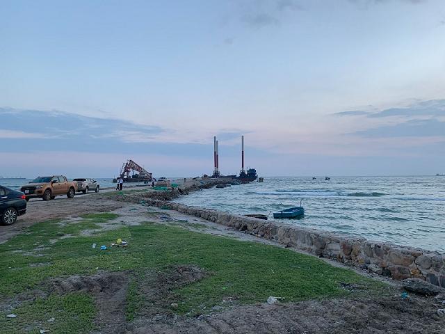Khu vực xây dựng cảng tổng hợp Cà Ná - Ninh Thuận. Ảnh: Báo Đầu tư.