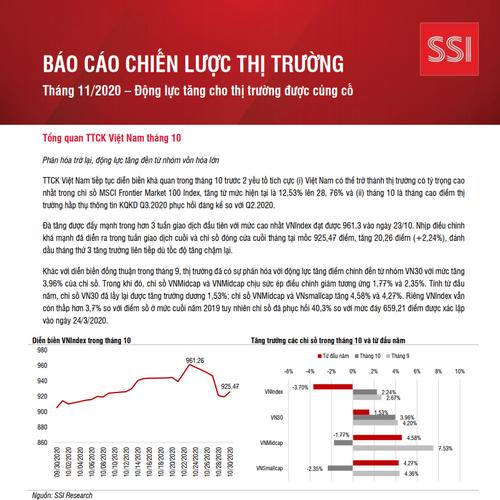 SSI Research: Báo cáo chiến lược tháng 11 - Động lực tăng cho thị trường được củng cố