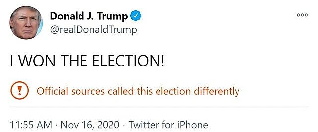 Dòng tweet của Tổng thống Trump bị Twitter dán nhãn cảnh báo người dùng về thông tin gây tranh cãi. Ảnh chụp màn hình.