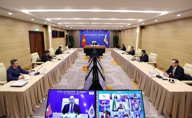Thủ tướng đề nghị các nước G20 xây dựng thoả thuận sản xuất vắc xin Covid-19