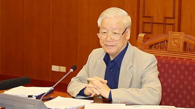Tổng bí thư, Chủ tịch nước phát biểu chỉ đạo tại cuộc họp.