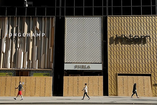 Some Fifth Avenue stores were ransacked amid protests, and many boarded up windows ahead of the US presidential election. Photo: Reuters