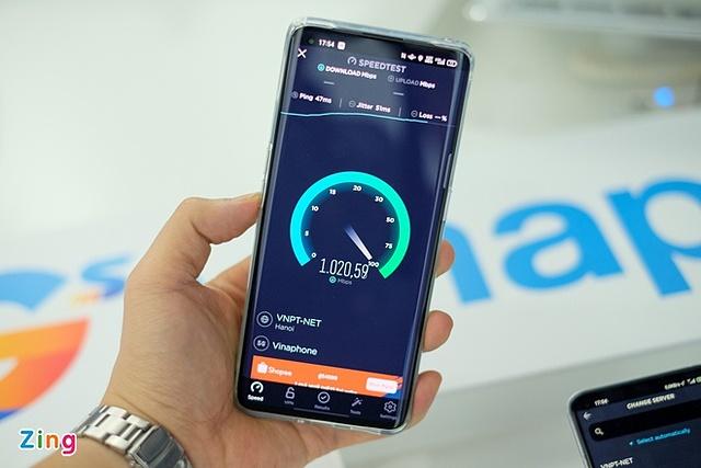 Tốc độ trong một lần thử nghiệm mạng 5G của Vinaphone, tại trung tâm thành phố Hà Nội. Ảnh: Tuấn Anh.