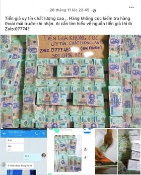 Trên mạng xã hội đang rao bán tràn lan các loại tiền polymer giả với mệnh giá từ 50.000 đến 500.000 đồng. Ảnh chụp màn hình.