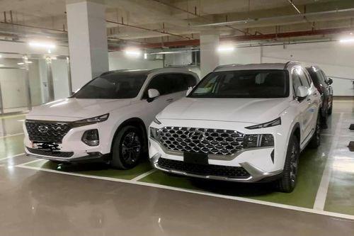 Hyundai Santa Fe 2021 phiên bản nâng cấp xuất hiện trên mạng xã hội. Ảnh: BNEWS/TTXVN