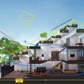 <p> Mặt cắt của ngôi nhà với hướng nắng, hướng gió và sự lưu thông không khí.</p>