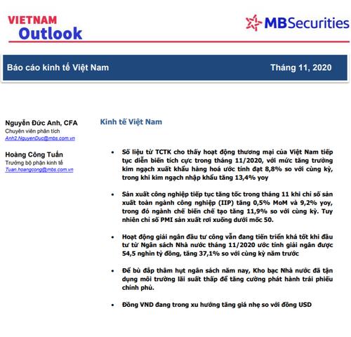 MBS: Báo cáo kinh tế Việt Nam số tháng 11/2020