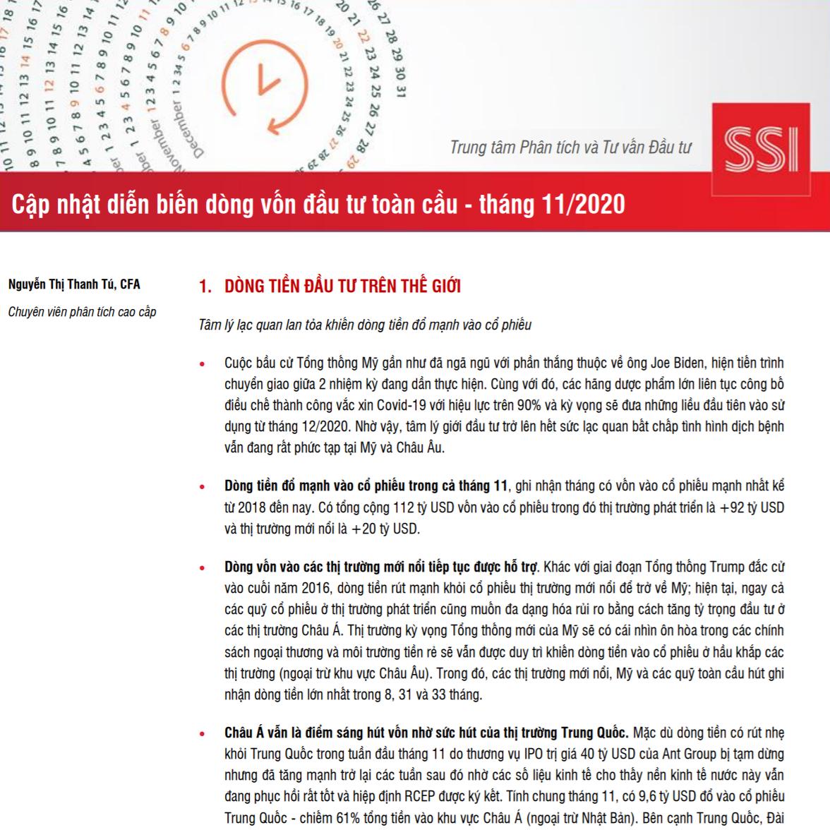 SSI Research: Cập nhật diễn biến dòng vốn đầu tư toàn cầu tháng 11/2020