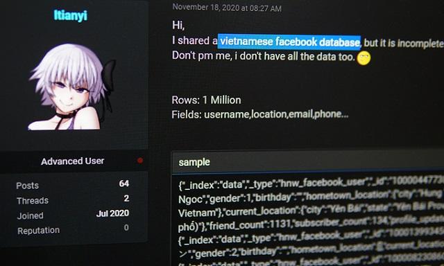 Một triệu tài khoản Facebook Việt bị tung lên diễn đàn hacker