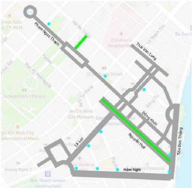 Sơ đồ 5 tuyến đường phố đi bộ.
