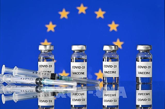 Hình ảnh mô phỏng vaccine ngừa COVID-19 và cờ của Liên minh châu Âu (EU). Ảnh: AFP/TTXVN