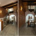 <p> Tầng trệt bắt đầu với lối vào, không gian để đàn piano, khu vực chính là bếp và quầy bar phía sau nhà, bàn ăn được đặt tại khu vực giếng trời.</p>