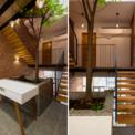 <p> Chất liệu bậc cầu thang là gỗ kết cấu thép, chất liệu sàn hành lang là những thanh gỗ, gạch đỏ cổ kính cho toàn bộ phần tường tại giếng trời. Các thành viên trong gia đình có thể giao tiếp với nhau thông qua khoảng trống này.</p>