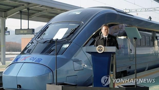 Tổng thống Moon Jae-in phát biểu tại buổi lễ. (Nguồn: Yonhap)
