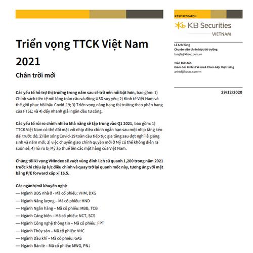KBSV: Triển vọng thị trường chứng khoán Việt Nam 2021 - Chân trời mới