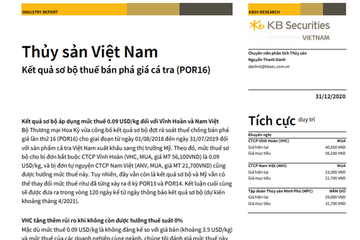 KBSV: Báo cáo cập nhật ngành Thủy sản - Kết quả sơ bộ POR16 cá tra