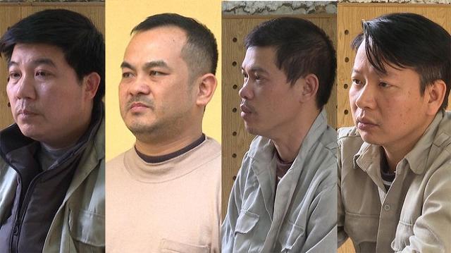 Các bị can Vi Ngọc Khang, Chu Ngọc Hoàng, Hà Minh Tuyền, Bùi Mạnh Công (từ trái sang) ẢNH CÔNG AN CUNG CẤP