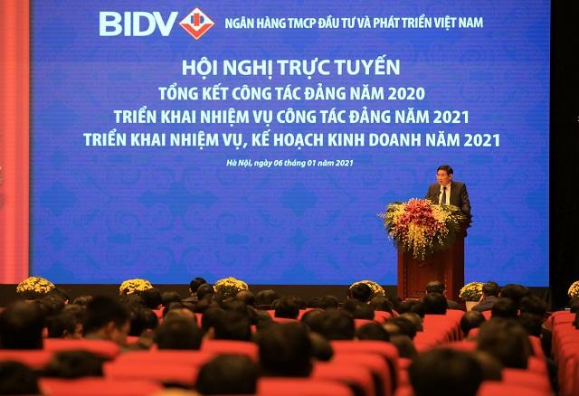 Hội nghị tổng kết của BIDV năm 2020. Ảnh: BIDV.