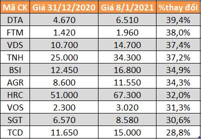 Top 10 cổ phiếu tăng mạnh nhất HoSE.