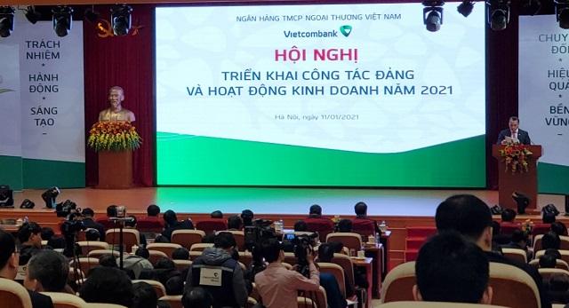 Hội nghị Tổng kết của Vietcombank sáng 11/1. Ảnh: L.H