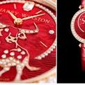 <p> Mẫu phụ kiện có vỏ làm bằng vàng hồng. Trên mặt đồng hồ, hình ảnh con trâu gắn kim cương với mong muốn một năm mới thành công rực rỡ. Ảnh: <em>Watchespedia.</em></p>