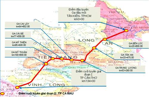 Hướng tuyến dự kiến của Dự án đường sắt Tp.HCM - Cần Thơ.