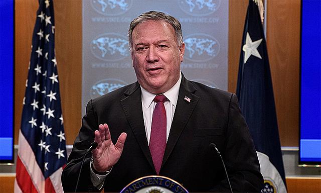 Ngoại trưởng Mỹ Mike Pompeo trong cuộc họp báo tại thủ đô Washington, tháng 10/2020. Ảnh: Reuters..