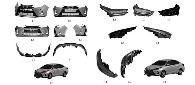 Một số chi tiết ngoại hình xe được làm mới cho phiên bản Toyota Vios cải tiến.