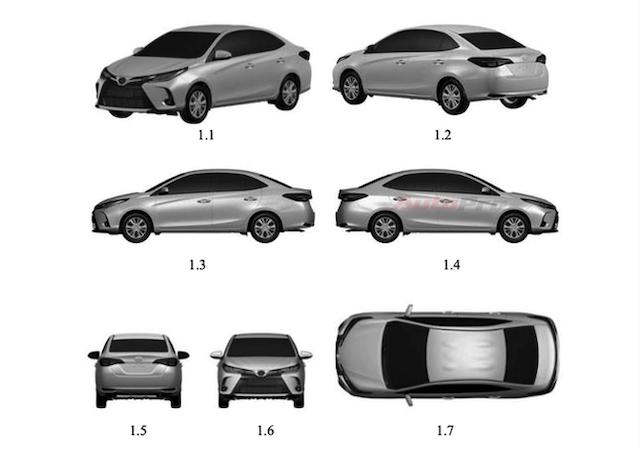 Hình ảnh thiết kế Toyota Vios 2021 được đăng ký bản quyền trên Cục sở hữu trí tuệ ở Việt Nam.