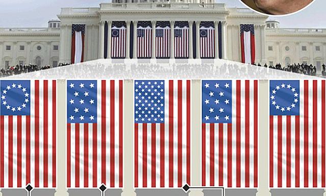 Những lá cờ sẽ xuất hiện trong lễ nhậm chức của Biden, từ trái qua phải gồm: cờ Betsy Ross, cờ 13 sao, quốc kỳ Mỹ, cờ Hải quân 13 sao và cờ Betsy Ross. Ảnh: Graphic News.