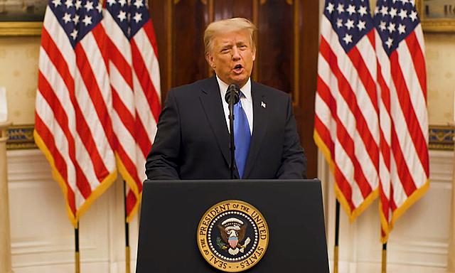 Tổng thống Mỹ Donald Trump phát biểu trong video được Nhà Trắng đăng hôm 19/1. Ảnh: White House.