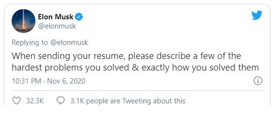Dòng tweet của Elon Musk về yêu cầu tuyển dụng. Ảnh chụp màn hình: Inc.