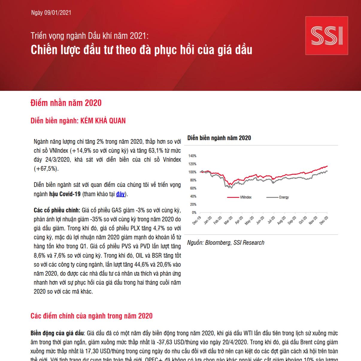 SSI Research: Triển vọng ngành dầu khí 2021 - Chiến lược đầu tư theo đà phục hồi của giá dầu