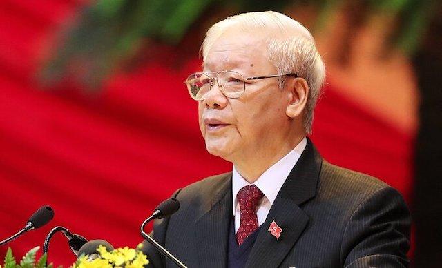 Tổng bí thư, Chủ tịch nước Nguyễn Phú Trọng phát biểu tại phiên khai mạc Đại hội XIII. Ảnh: Giang Huy.