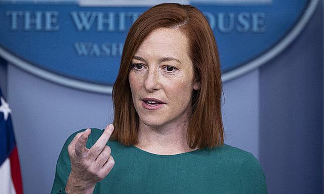 Thư ký báo chí Nhà Trắng Jen Psaki trong cuộc họp báo hàng ngày tại Washington hôm 25/1. Ảnh: AFP.