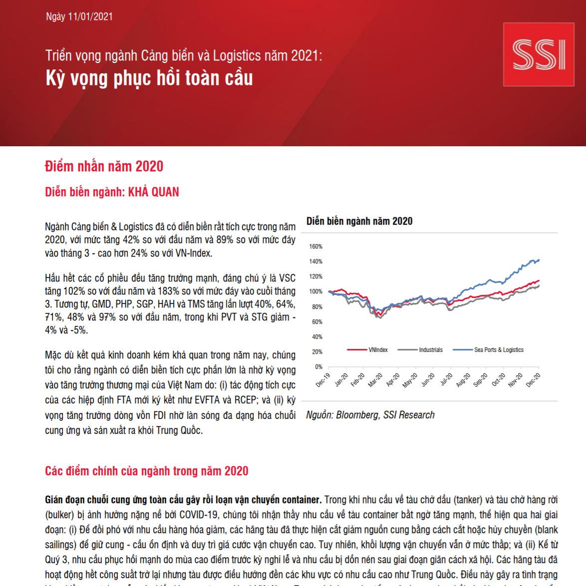 SSI Research: Triển vọng ngành cảng biển và logistics năm 2021 - Kỳ vọng phục hồi toàn cầu