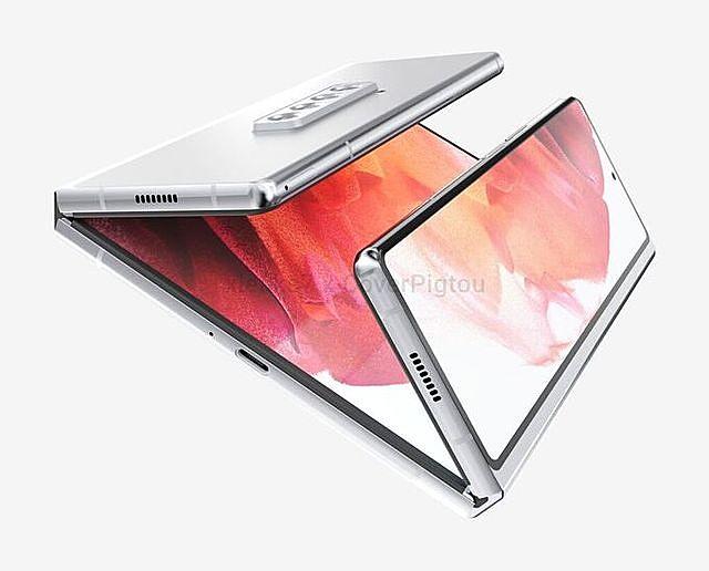 Ảnh render Samsung Galaxy Z Fold3 dạng một màn hình chính, 2 màn hình phụ gập vào trong. Ảnh:Pigtou & xleaks