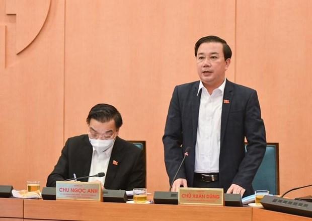Phó Chủ tịch Ủy ban nhân dân thành phố Hà Nội Chử Xuân Dũng tại một cuộc họp của Ban chỉ đạo phòng chống dịch bệnh COVID-19. (Ảnh: PV/Vietnam+)