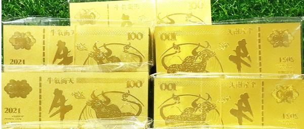 Tiền in hình trâu vàng được Macao sản xuất.