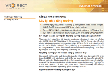 VNDirect: Kết quả kinh doanh quý IV/2020 - Lấy lại nhịp tăng trưởng