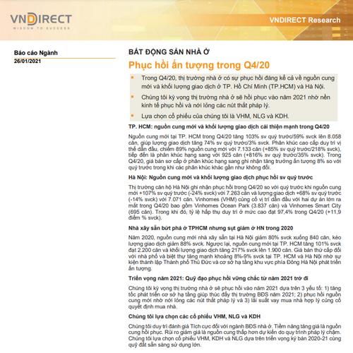 VNDirect: Báo cáo bất động sản nhà ở - Phục hồi ấn tượng trong quý IV/2020